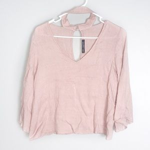 ONE CLOTHING CHOKER NECK PINK LONG SLEEVE TOP